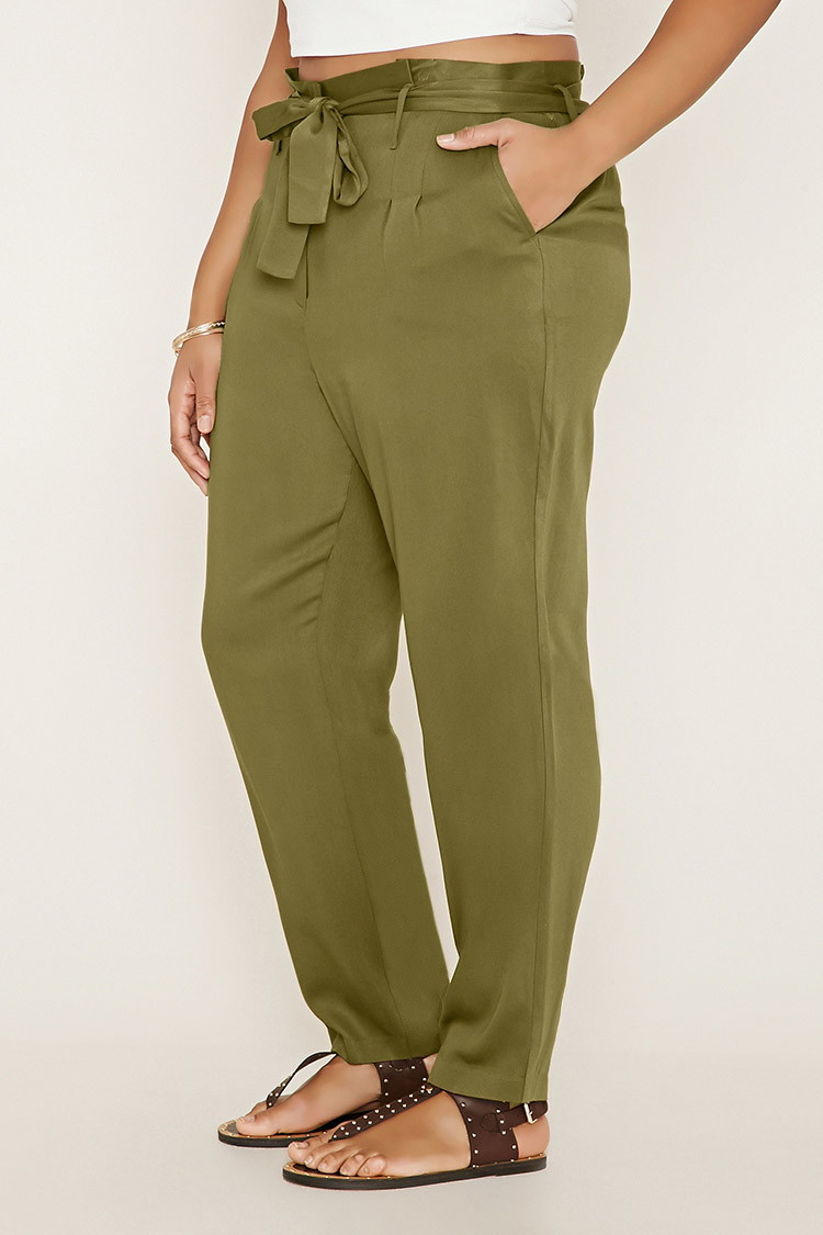 08b50b22078 Lyst - Forever 21 Plus Size Belted Pants in Green