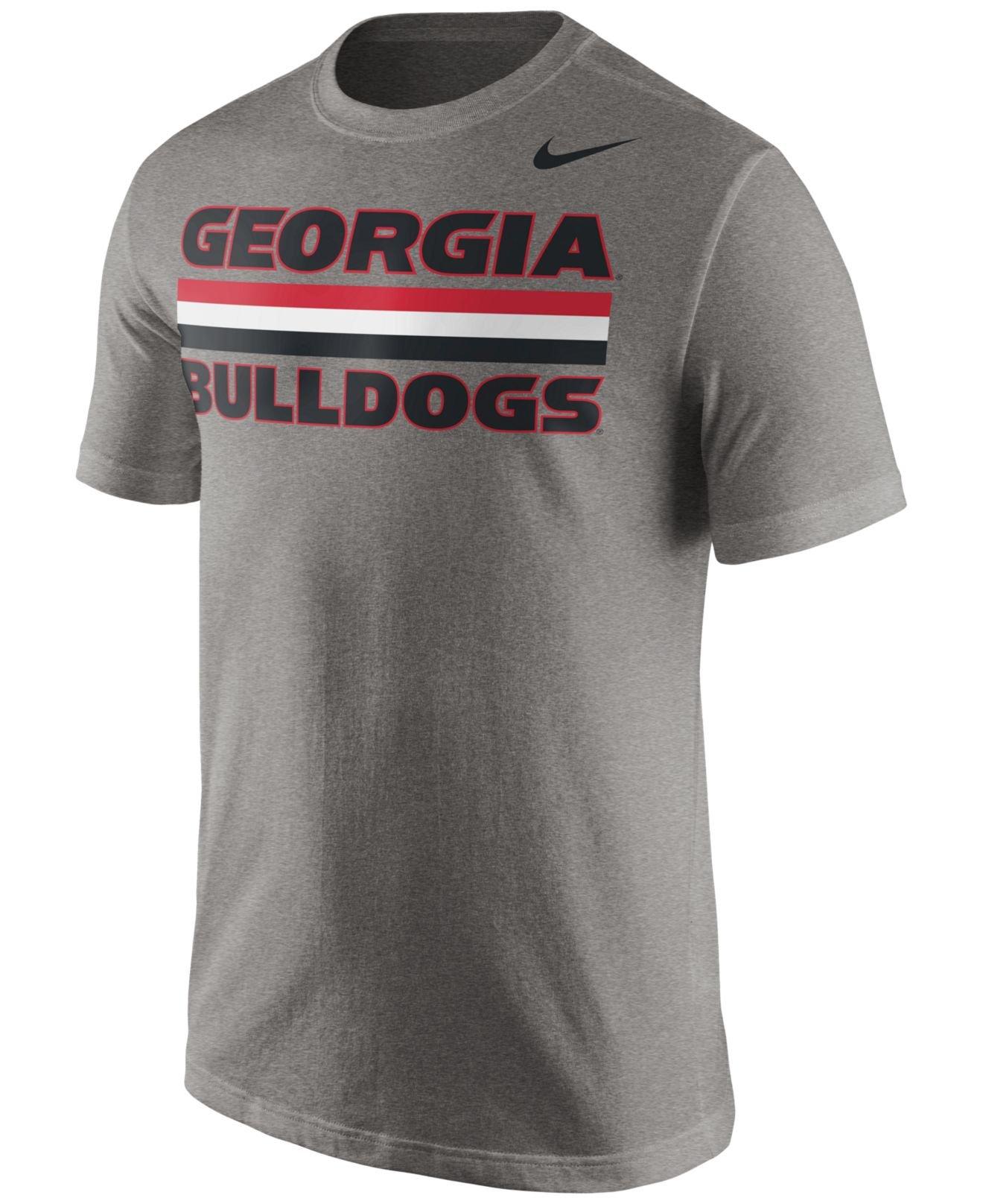 Nike Men 39 S Georgia Bulldogs Team Stripe T Shirt In Gray