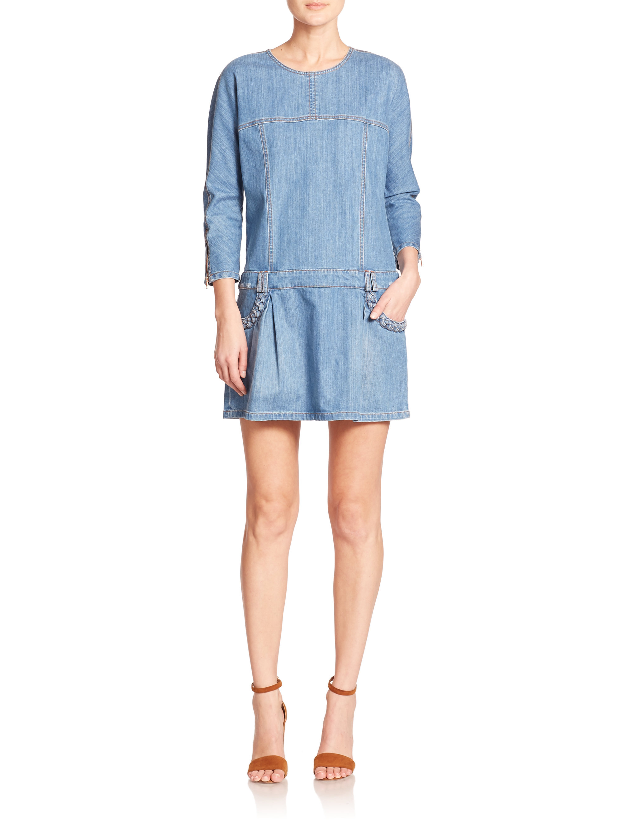 Waist By Blue In Chloé See Dress Lyst Drop Denim IAwR1qC