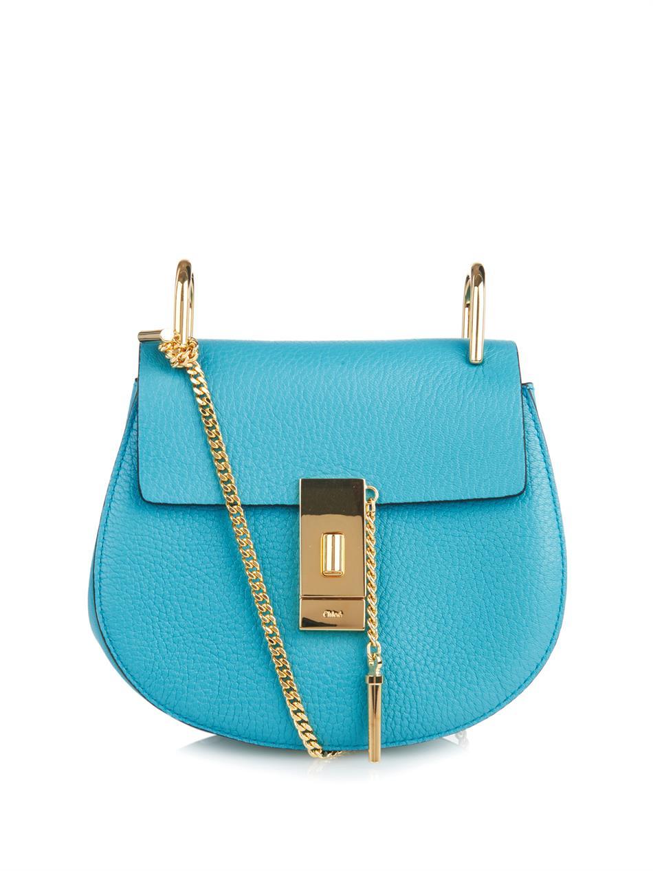 Chlo¨¦ Drew Mini Leather Shoulder Bag in Blue   Lyst