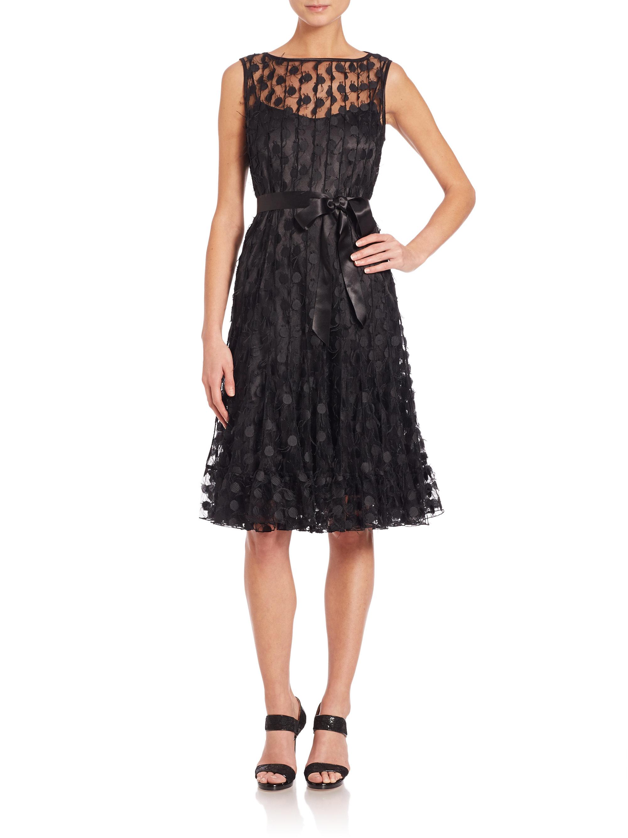 Lyst Teri Jon Dot Mesh Pintucked Dress In Black