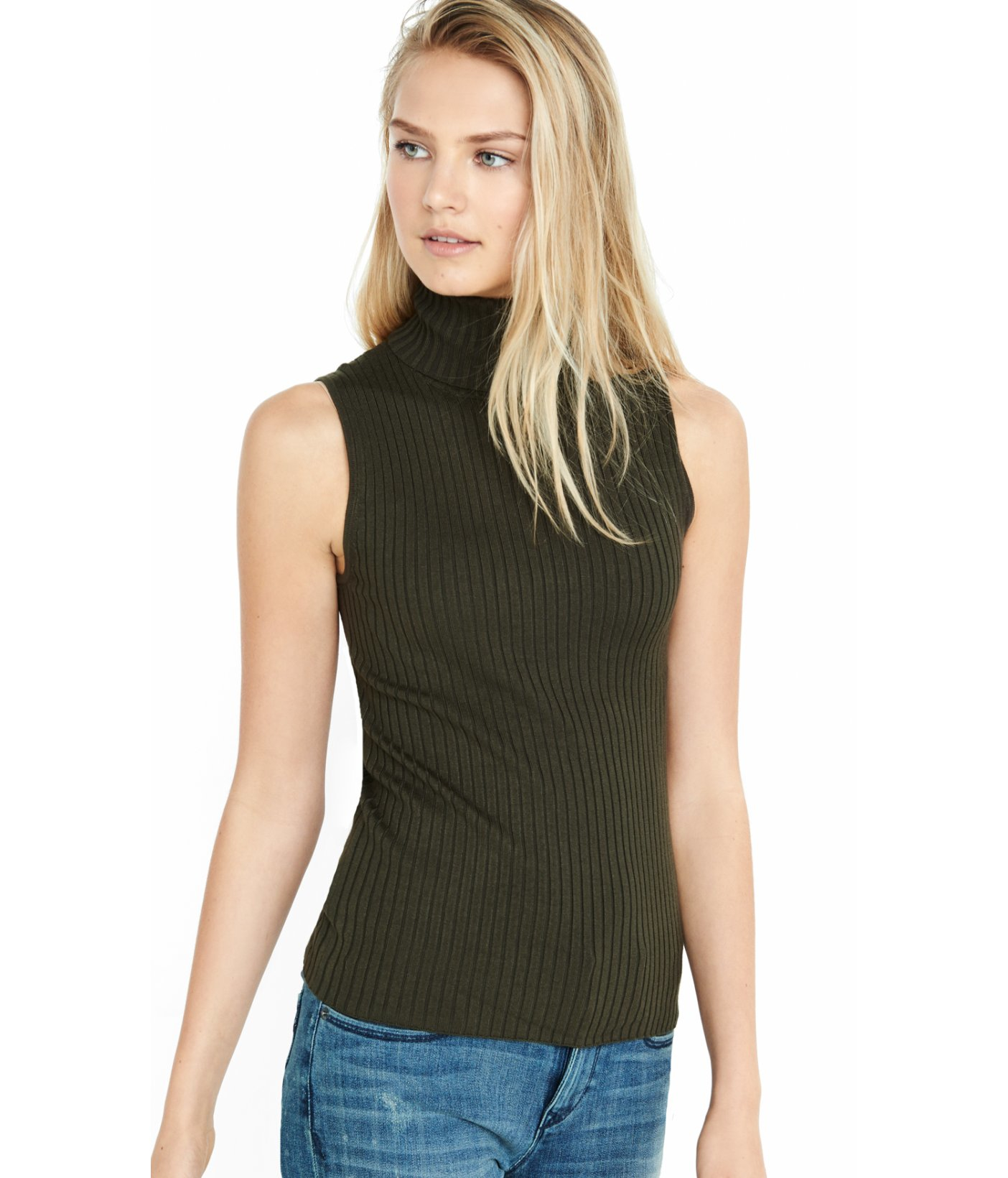 613b6d7280b1 Lyst - Express Sleeveless Ribbed Turtleneck Sweater in Green