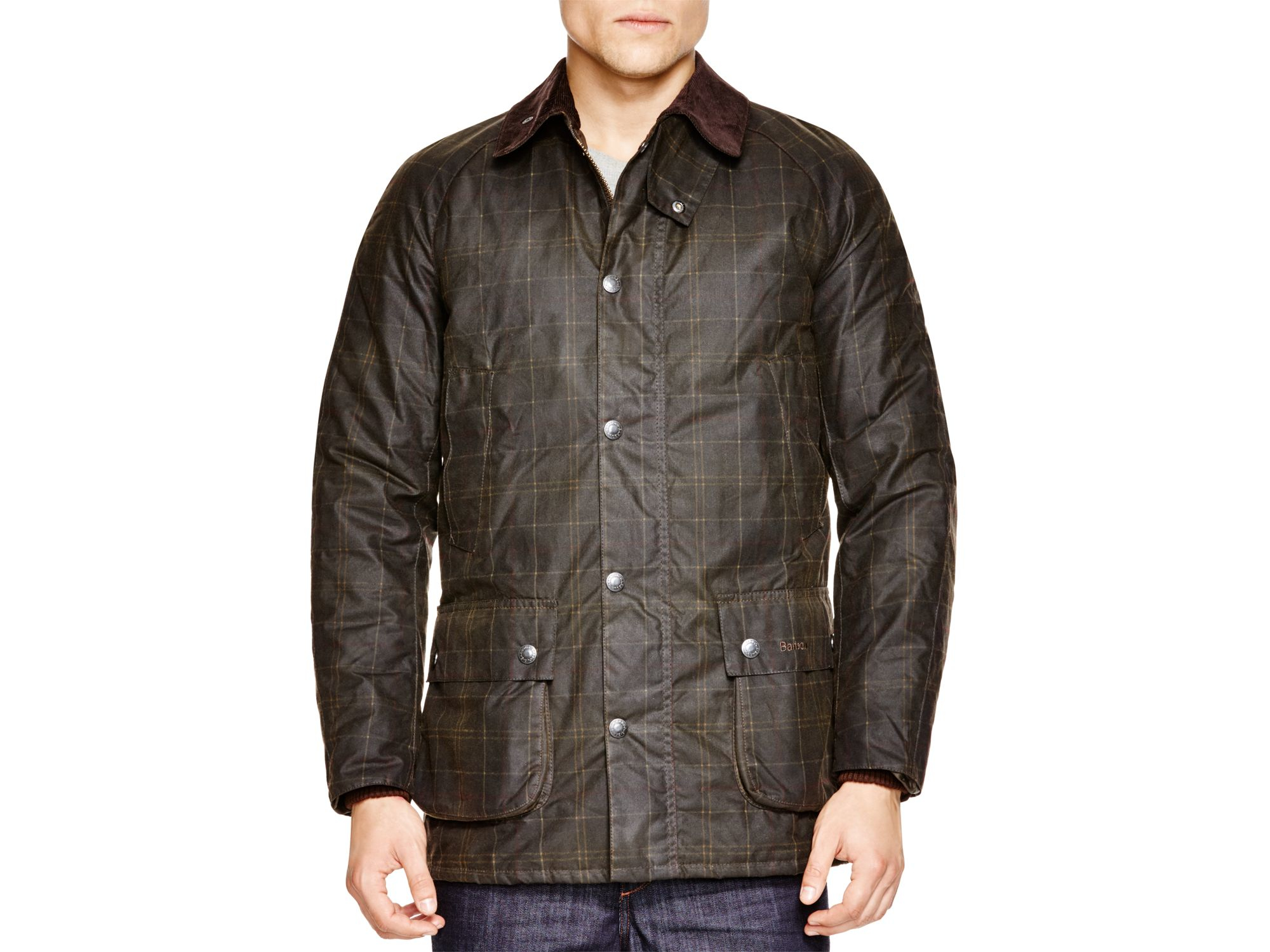 Black leather gloves buttons - Barbour Hemming Waxed Jacket In Black For Men Lyst
