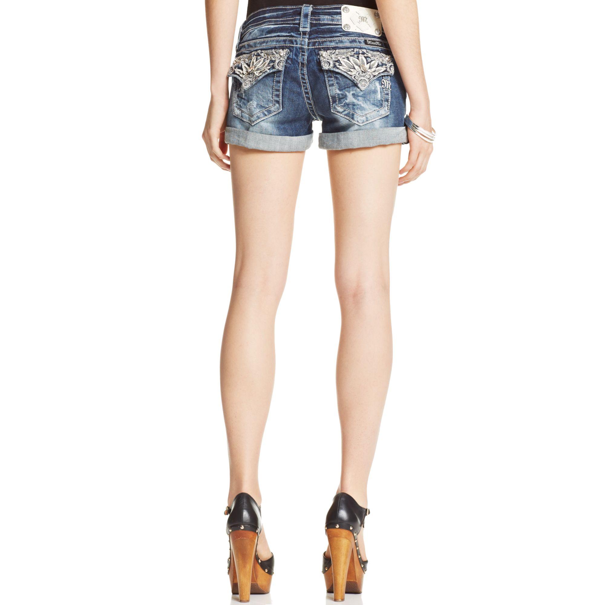 Miss Me Distressed Rhinestone Denim Shorts in Blue (Medium ...