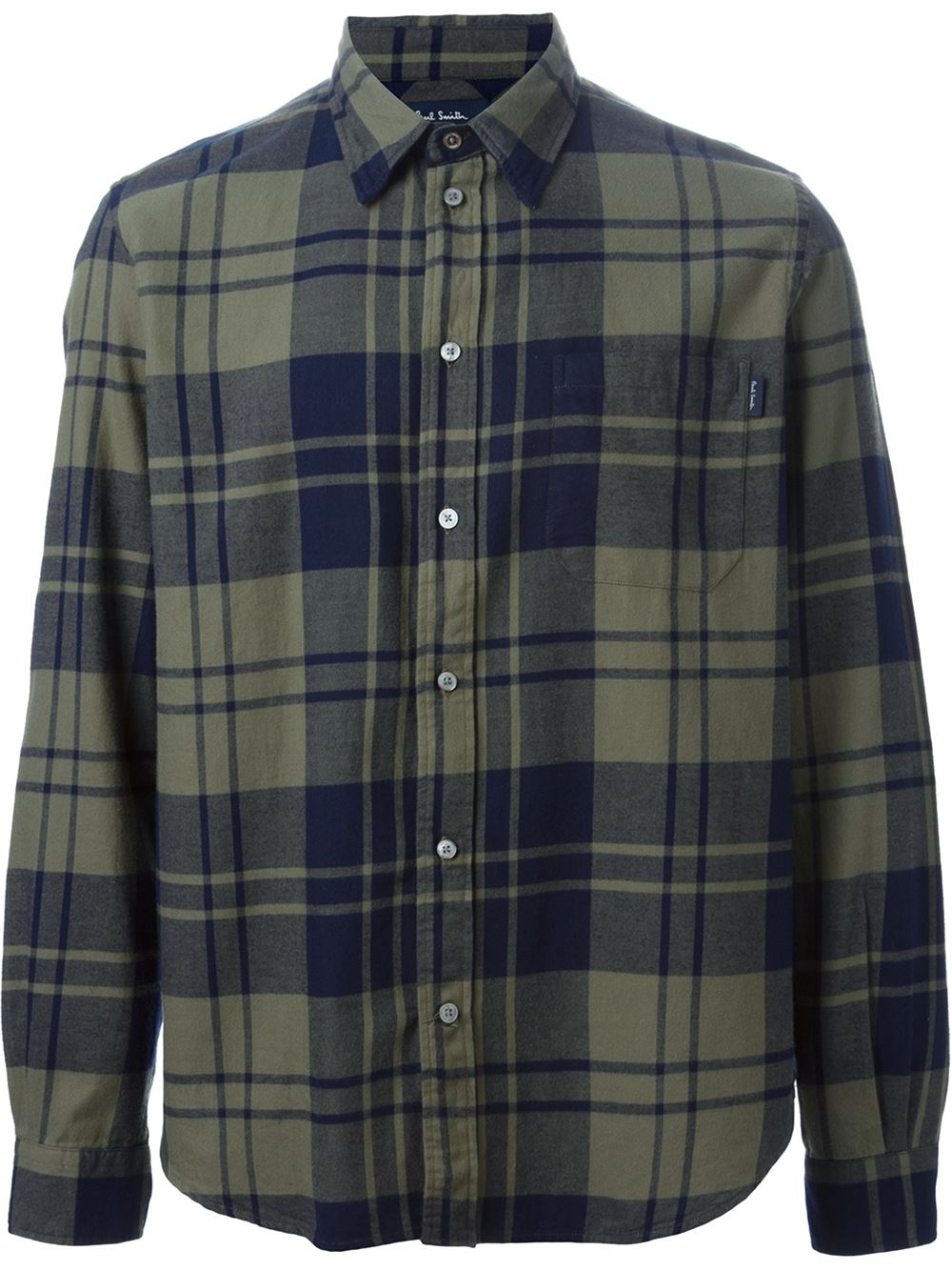 Lyst Paul Smith Plaid Flannel Shirt In Green For Men