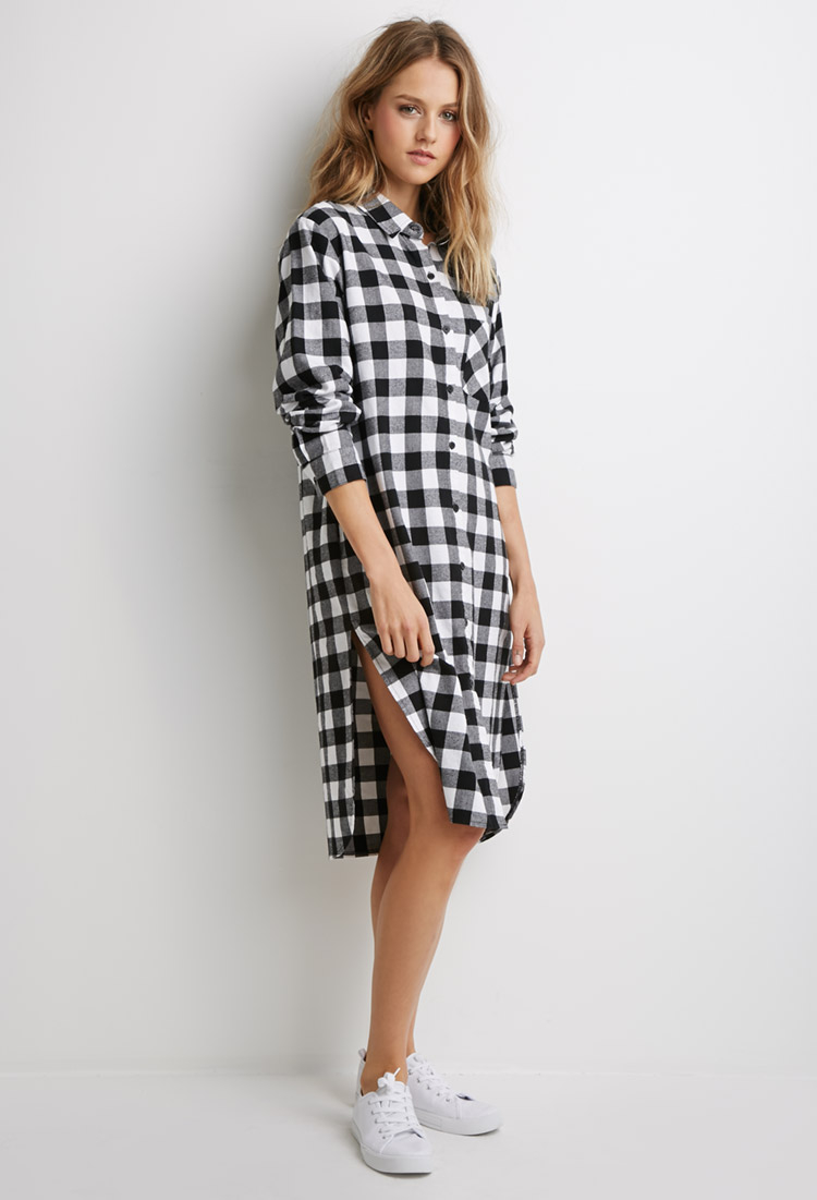 5911d35552 Black And White Flannel Shirt Dress