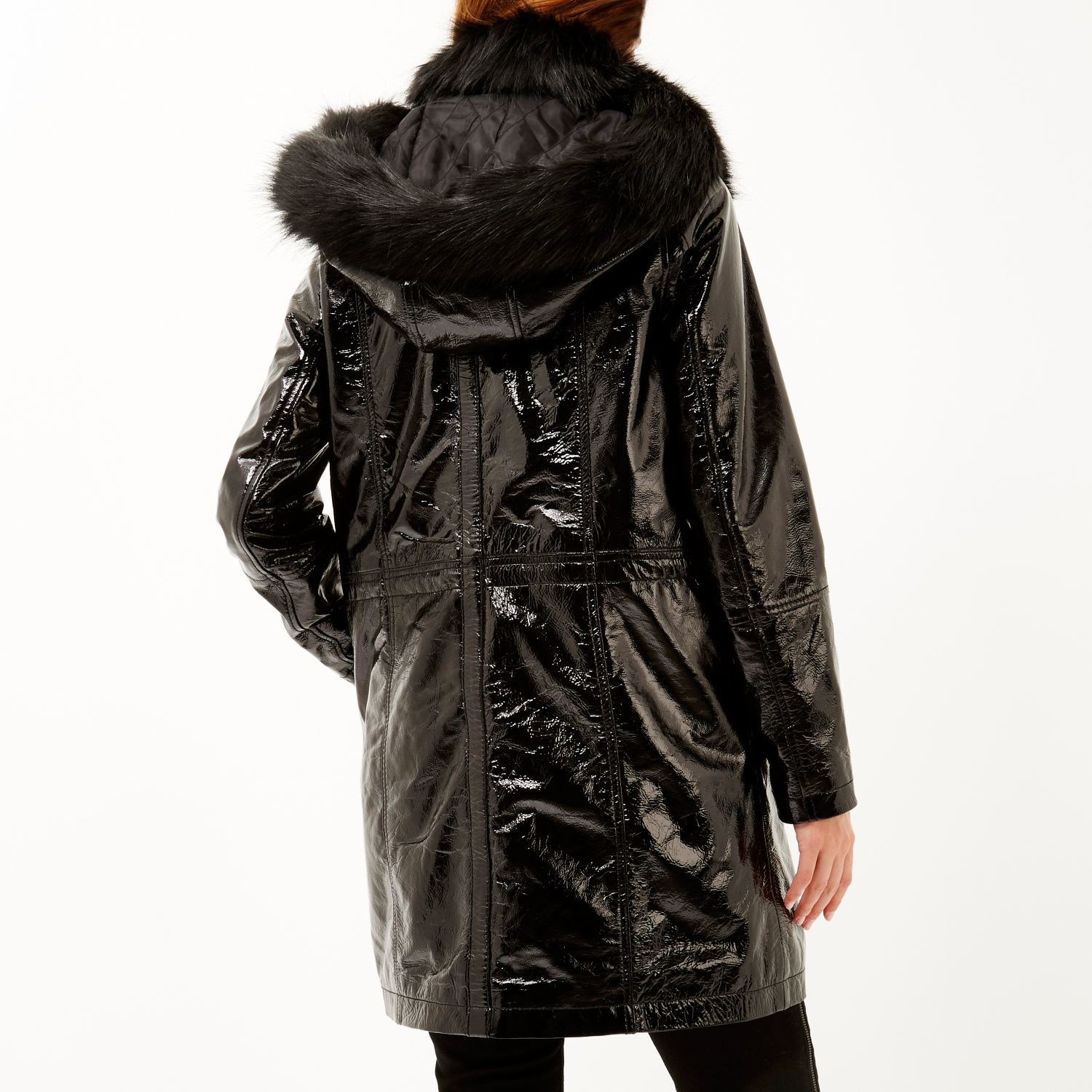 River Island Black Design Forum Patent Leather Jacket In
