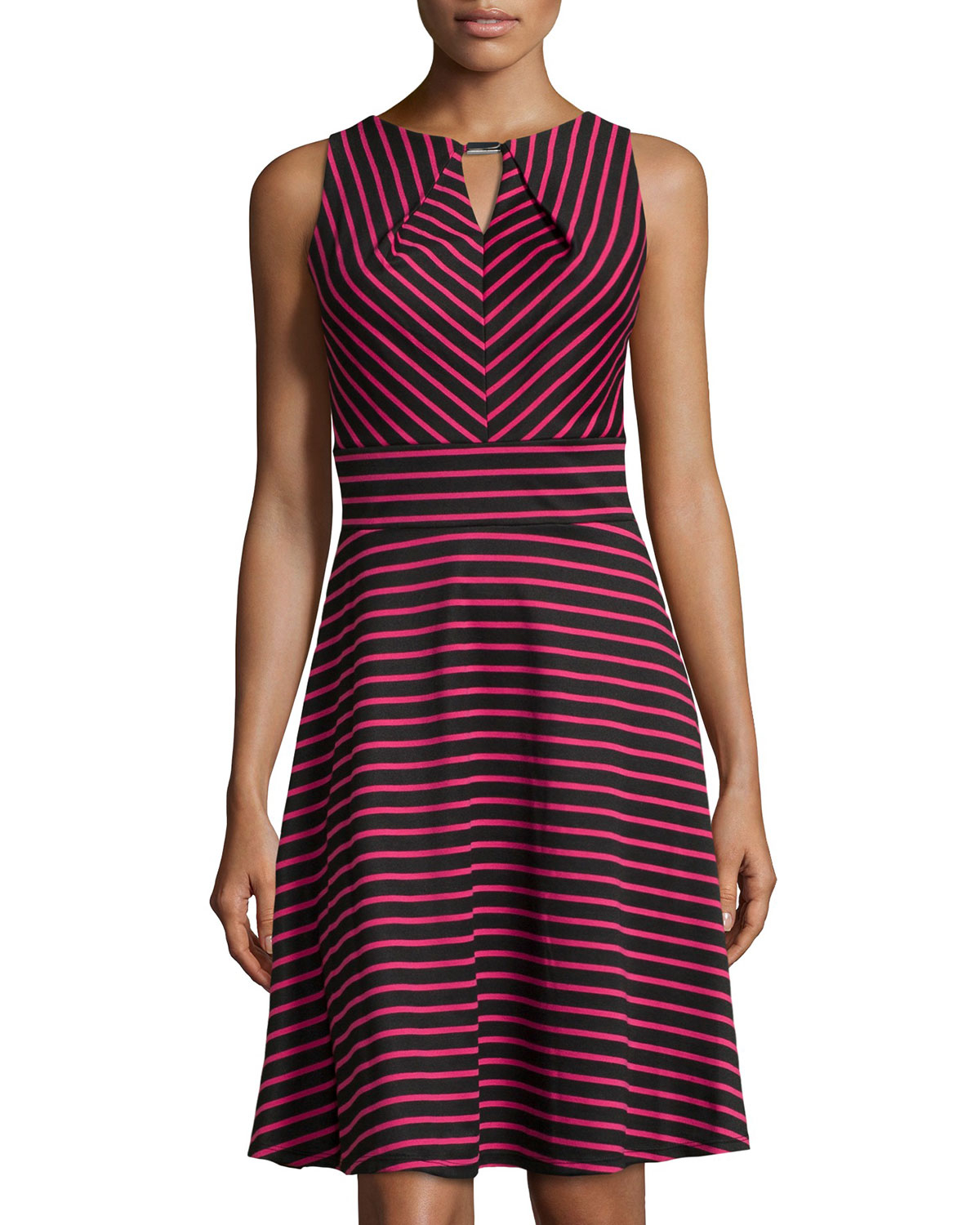 Donna ricco Striped Sleeveless Fit-And-Flare Dress in Purple | Lyst