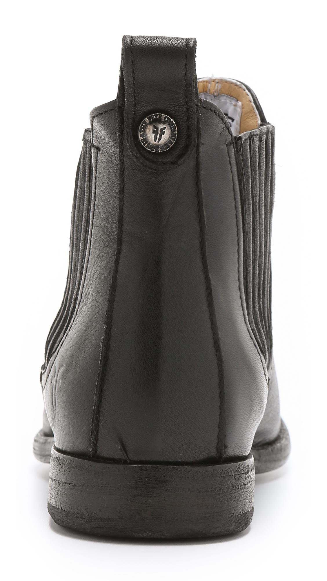 Frye Leather Philip Chelsea Flat Booties in Black