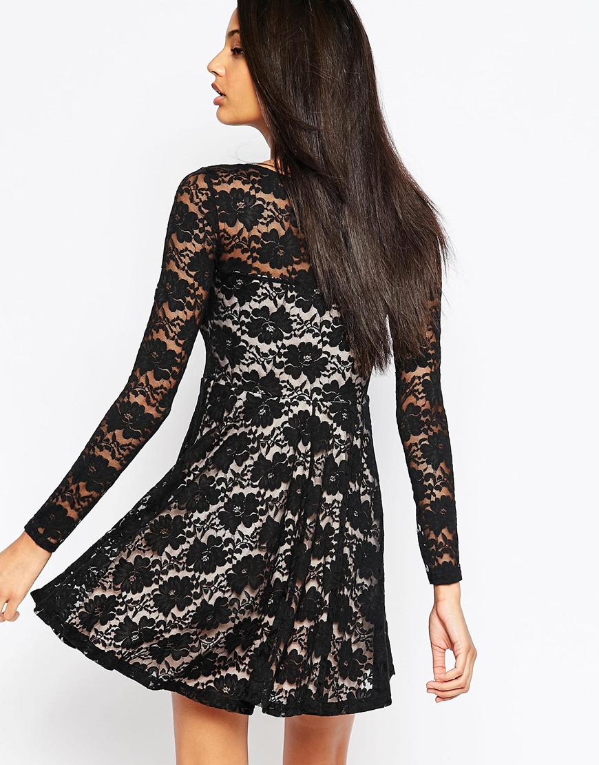 lyst club l lace skater dress with long sleeves