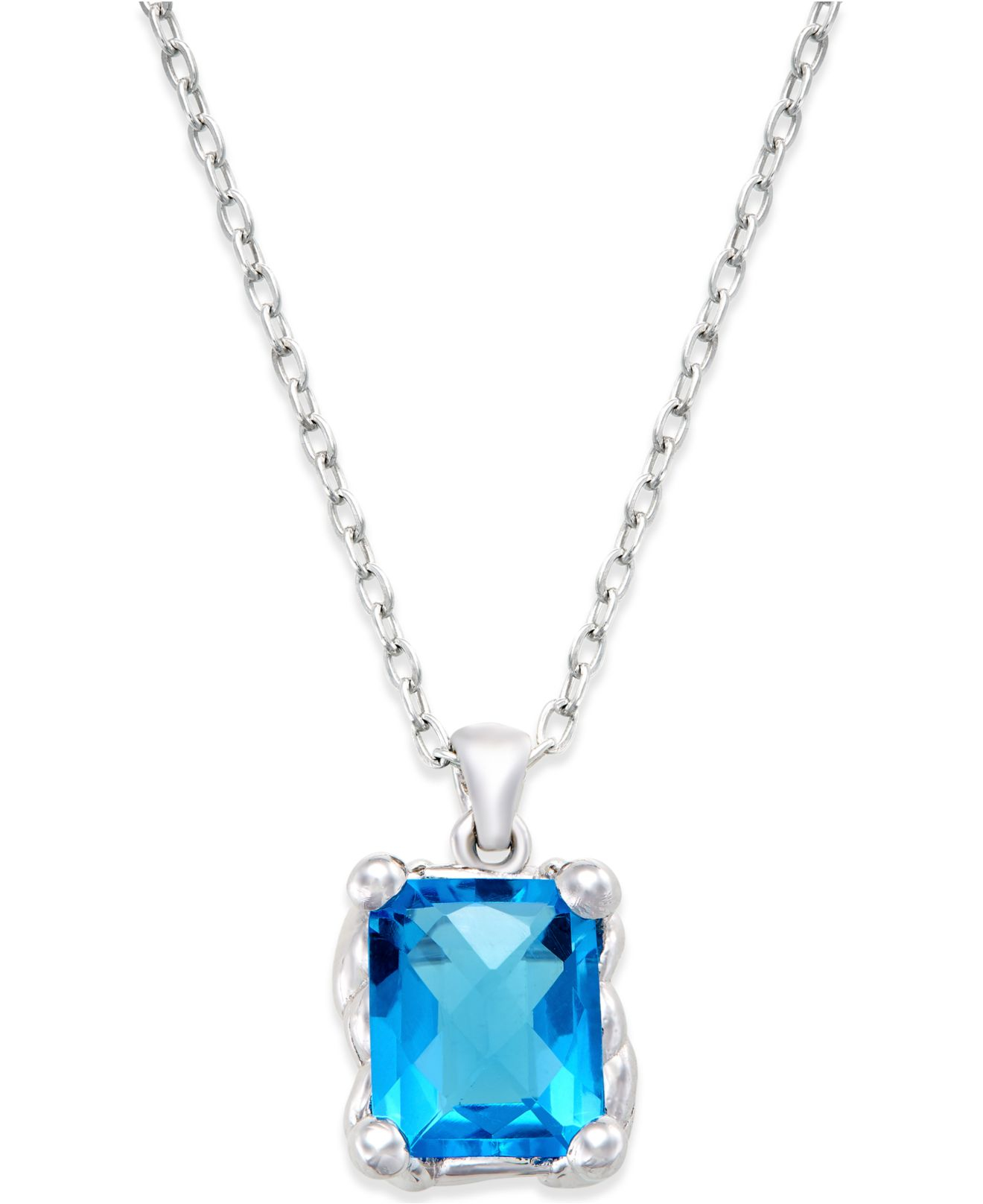 macy s blue quartz pendant necklace 7 ct t w in