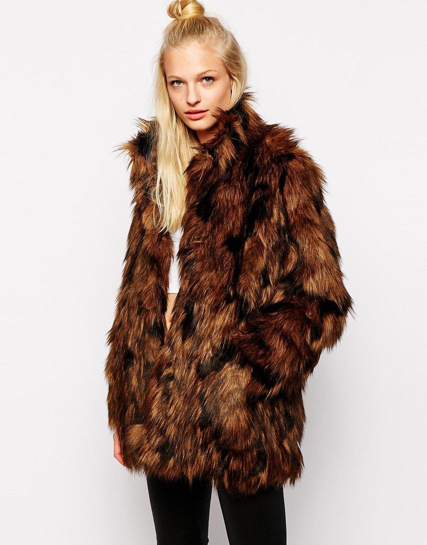Monki Faux Fur Coat in Brown | Lyst