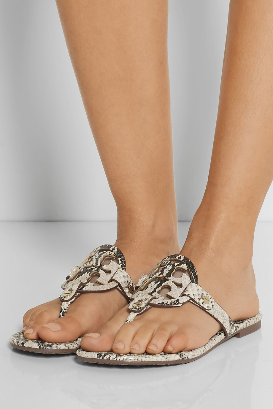 Tory Burch Miller Snake Effect Leather Sandals In Natural