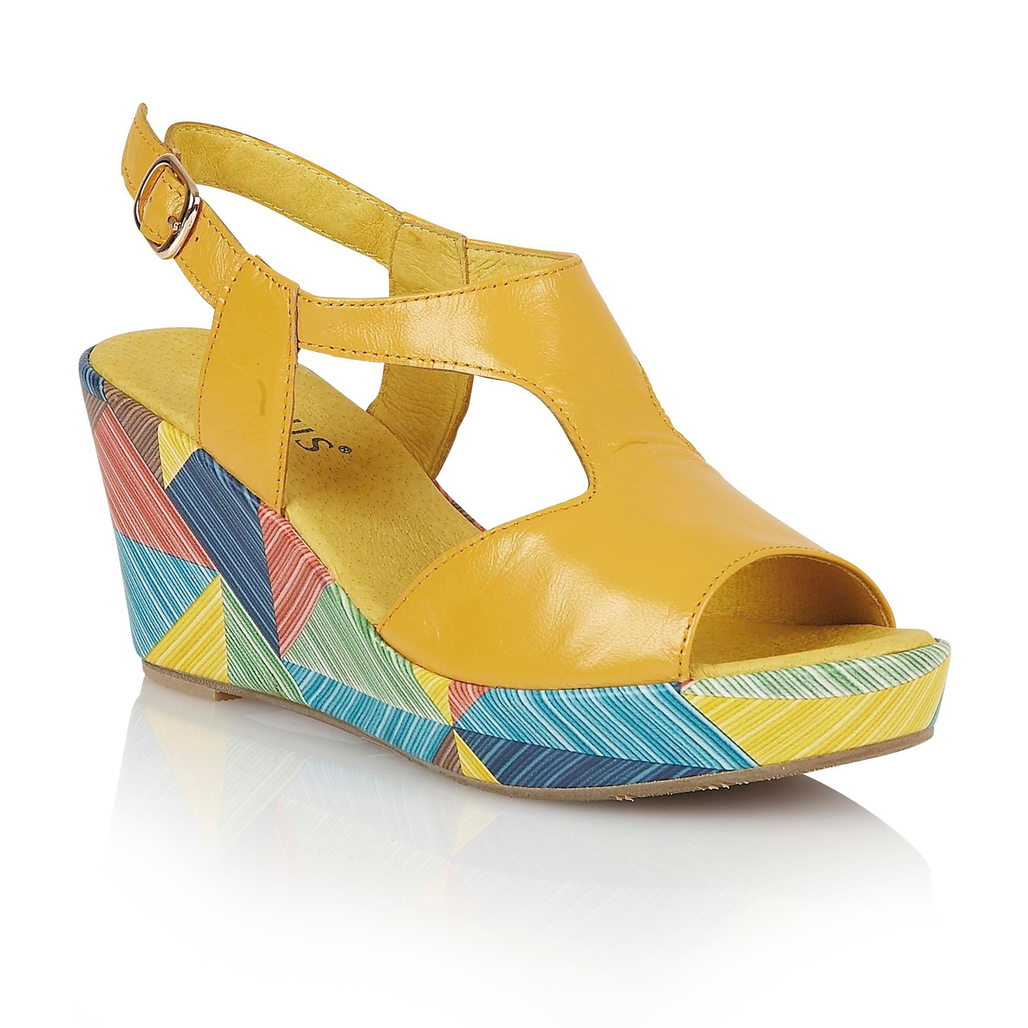 Lotus Leather Dandy Wedge Sandals In Yellow Lyst