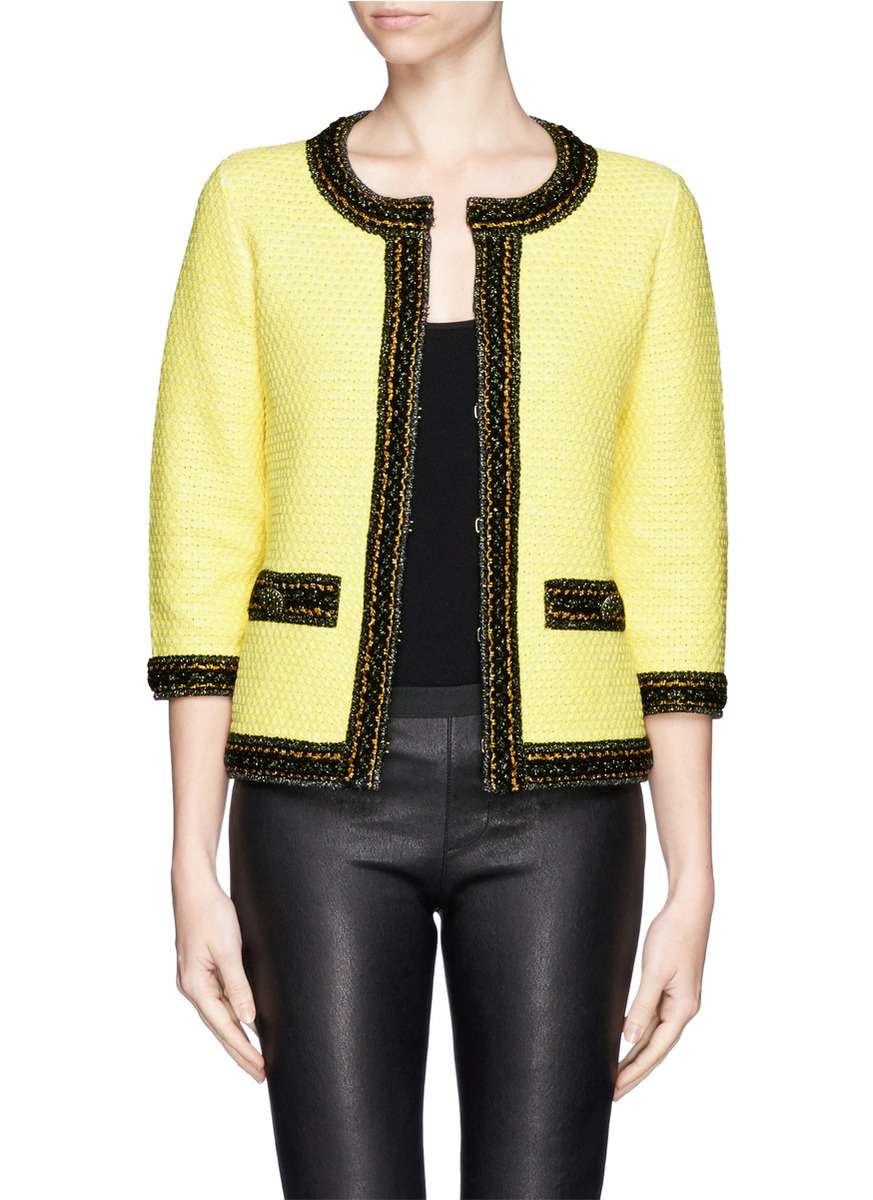 lyst st john contrast trim tweed knit jacket in yellow. Black Bedroom Furniture Sets. Home Design Ideas