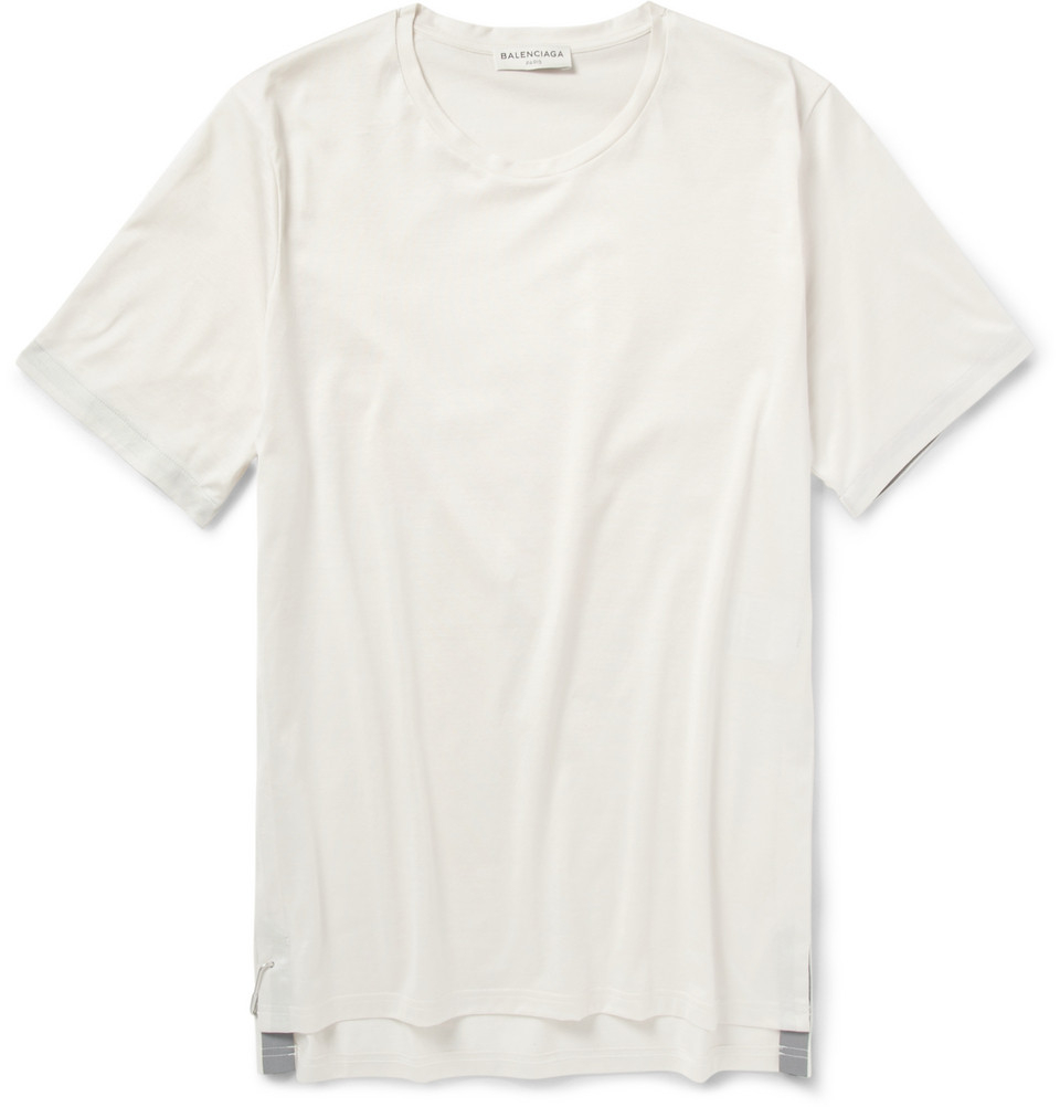 e18ad1aaeee2 Balenciaga Carabinerfastened Cottonjersey Tshirt in White for Men - Lyst