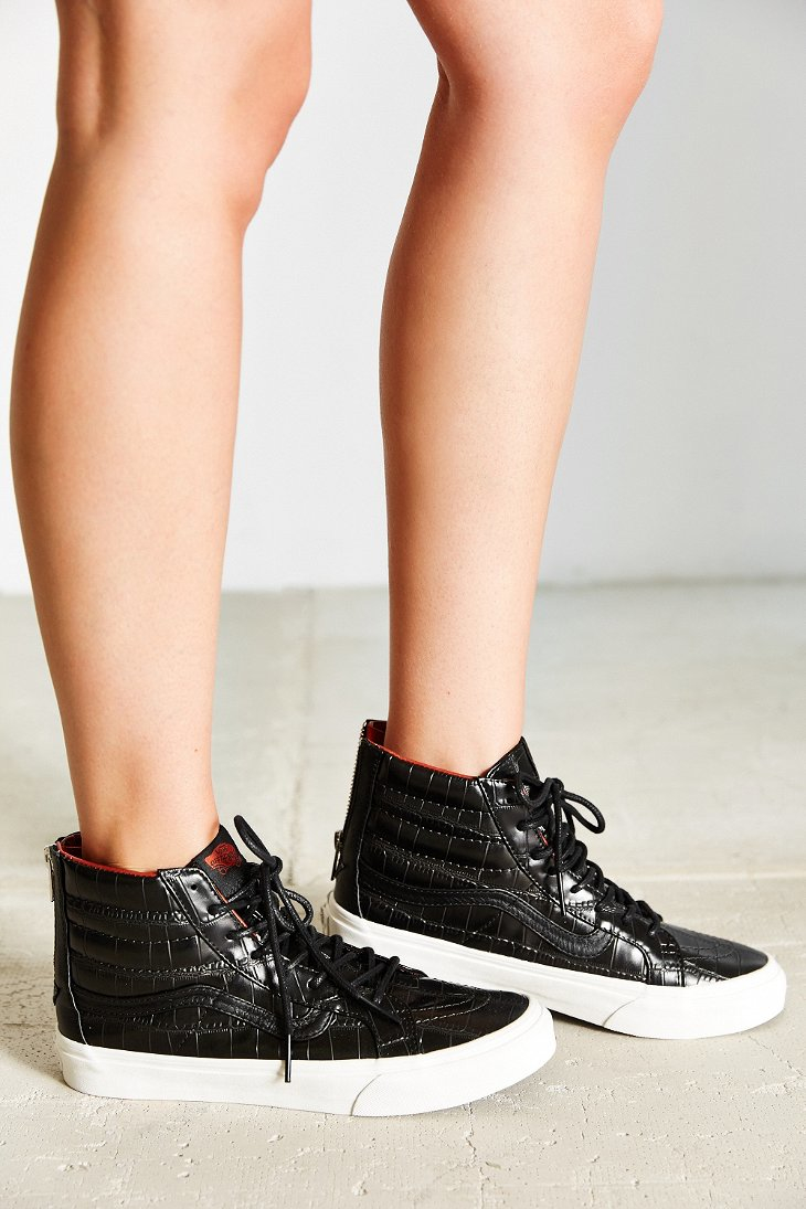 37aa1f8b7b3e91 Lyst - Vans Sk8-hi Croc Leather Slim Sneaker in Gray