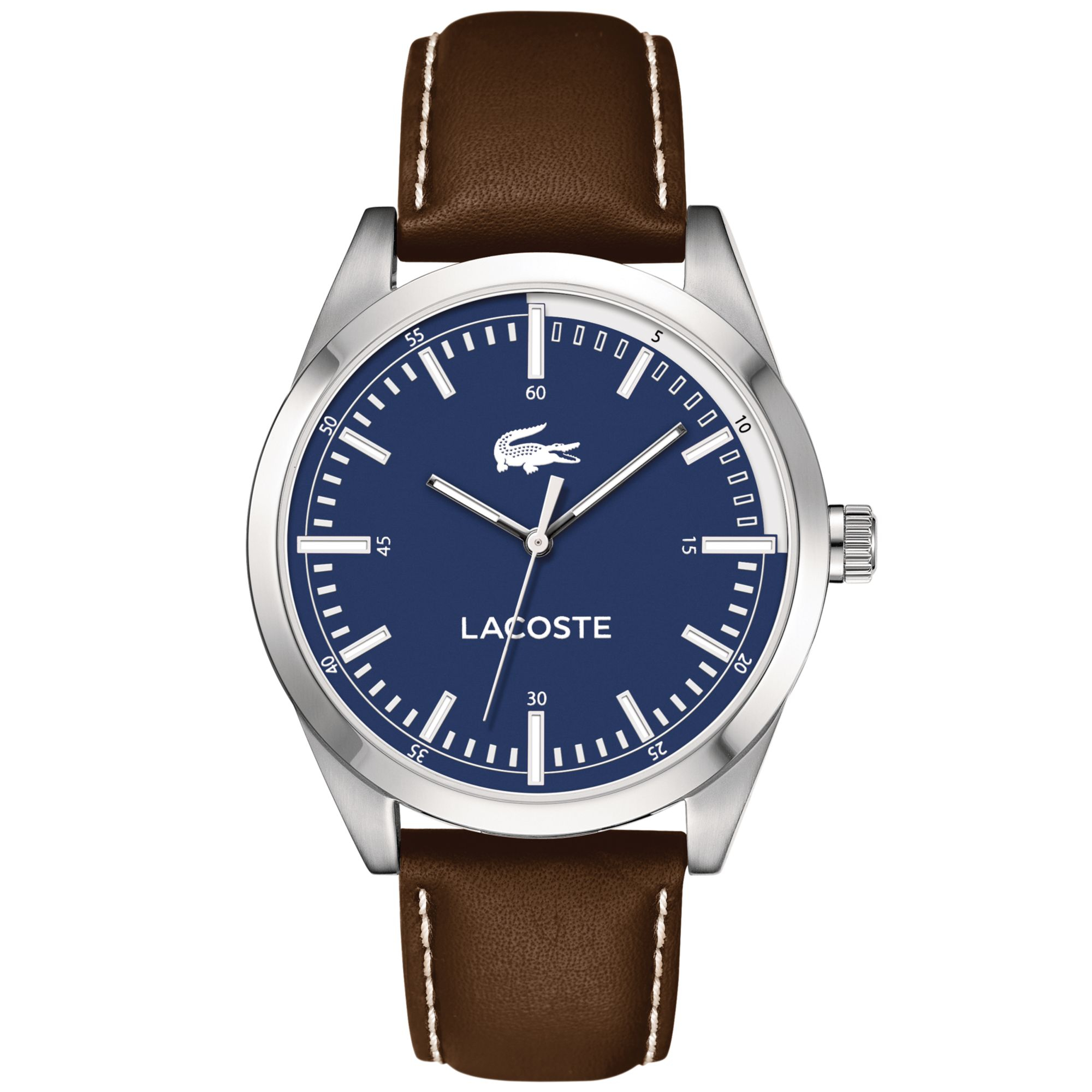 lacoste s montreal brown leather 44mm
