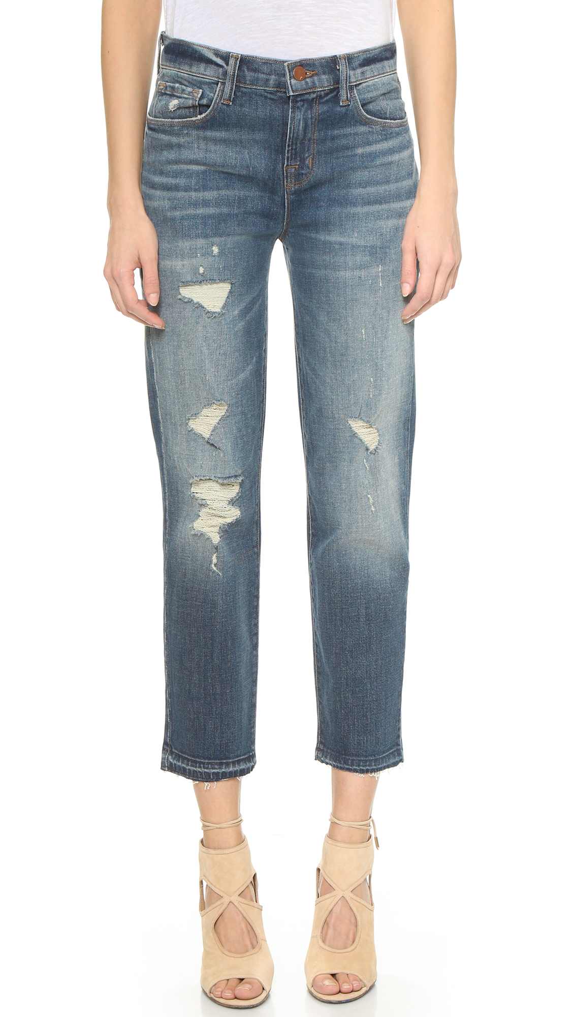 J Brand Maria Straight Leg Cropped Jeans - Blitz in Blue