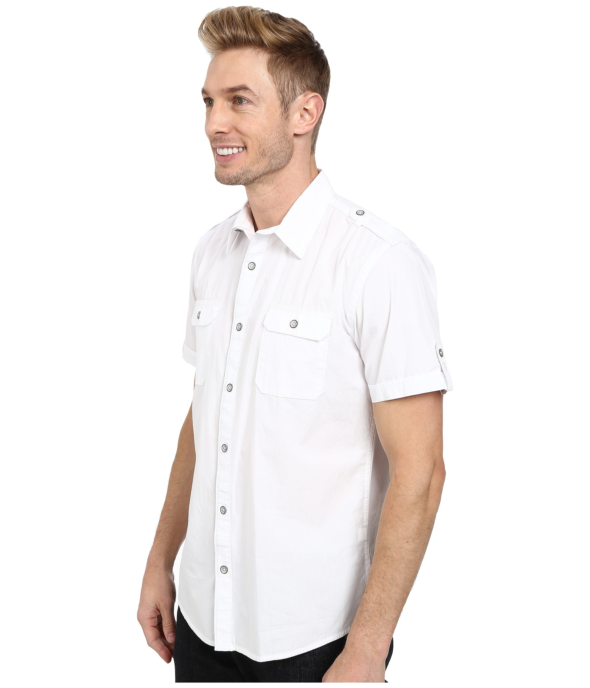 Lyst dkny short sleeve 2 pocket military solid poplin for Mens two pocket short sleeve shirts