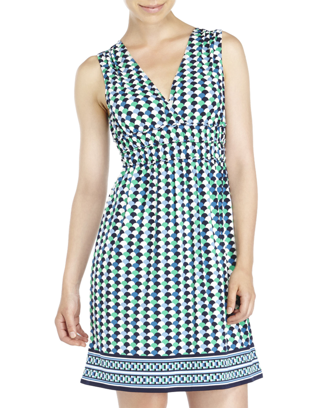 Max Studio V Neck Printed Jersey Dress In Blue Lyst