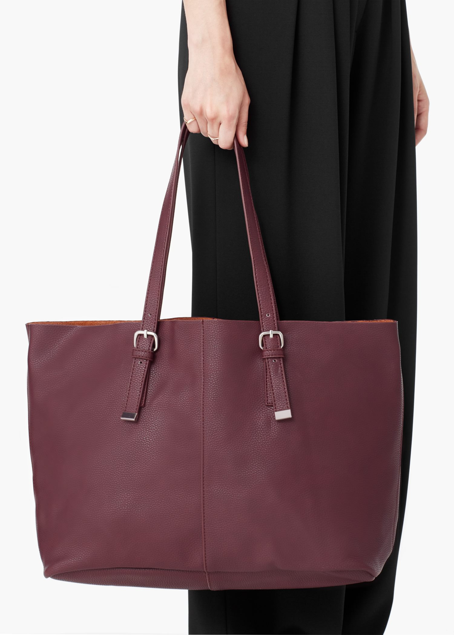Mango Pebbled Shopper Bag in Red | Lyst
