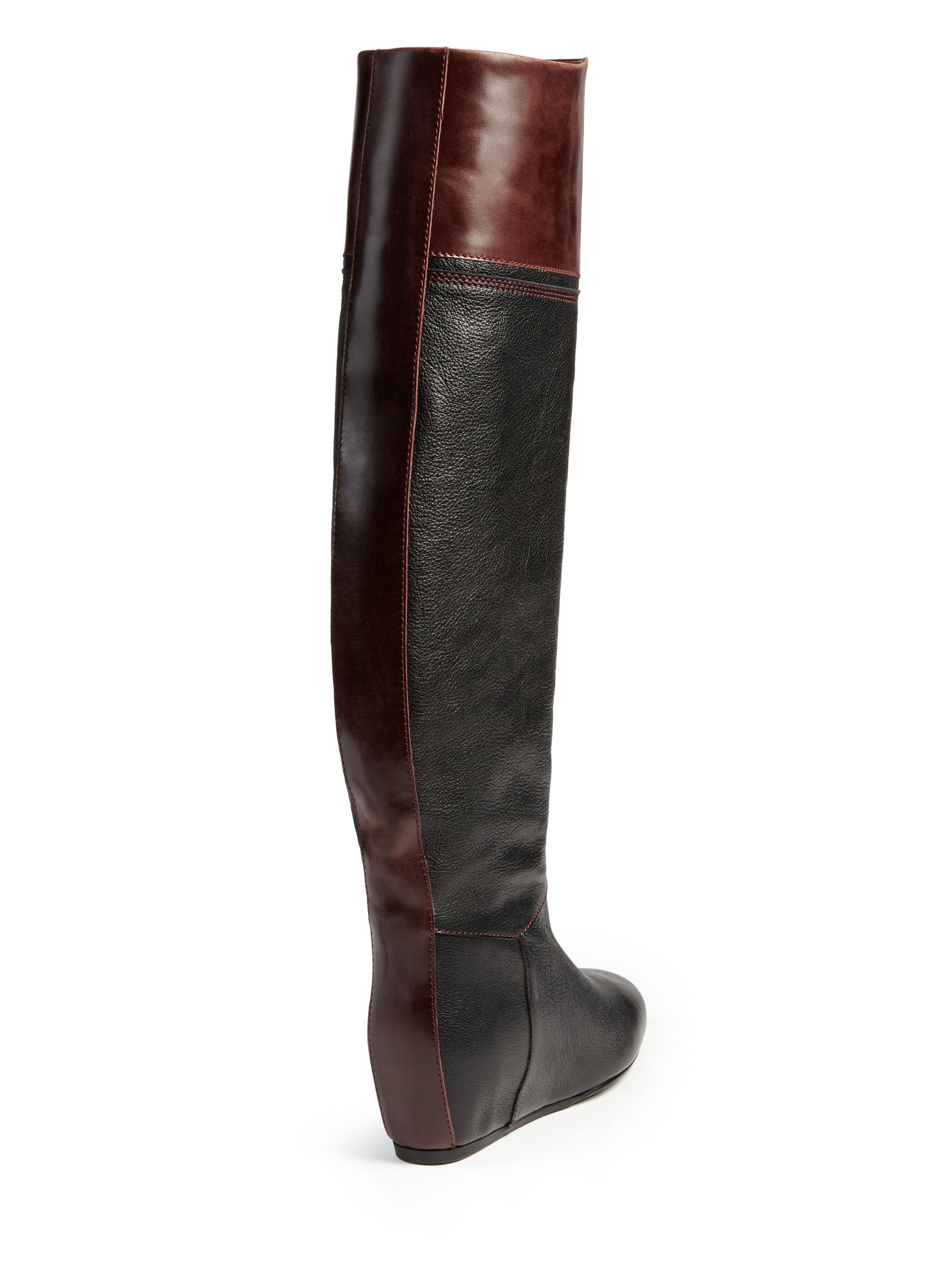 lanvin wedge knee high leather boots in black lyst