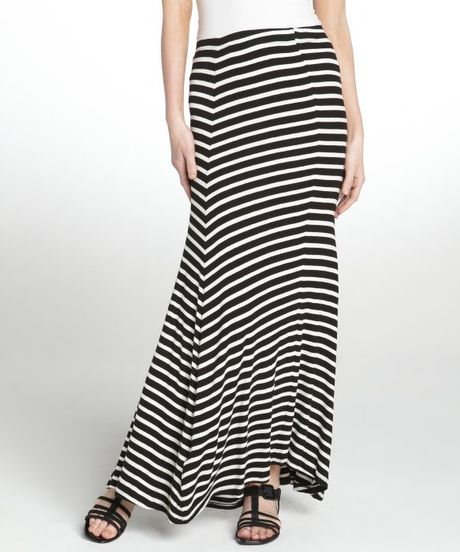 bcbgmaxazria black and white stretch sydney maxi skirt