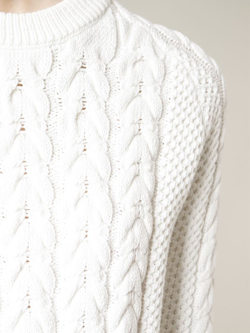 Joseph Cable Knit Sweater in White | Lyst
