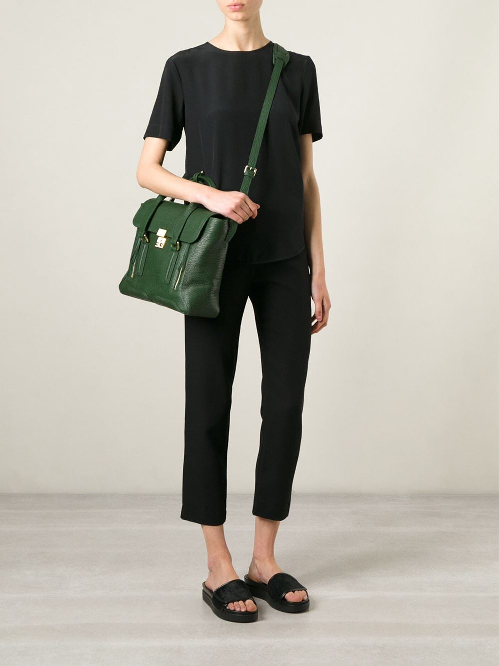 3.1 Phillip Lim Leather Large 'pashli' Tote in Green