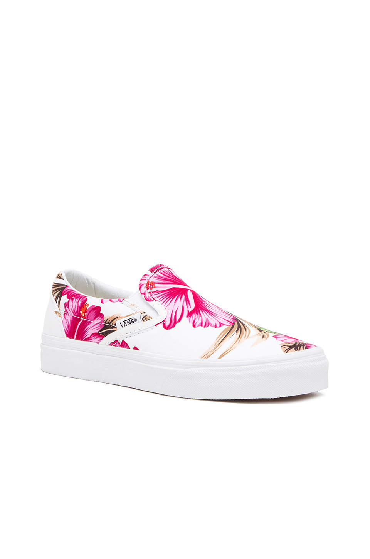 Lyst - Vans Classic Hawaiian Floral Slip On Sneaker in Pink 750aa7487