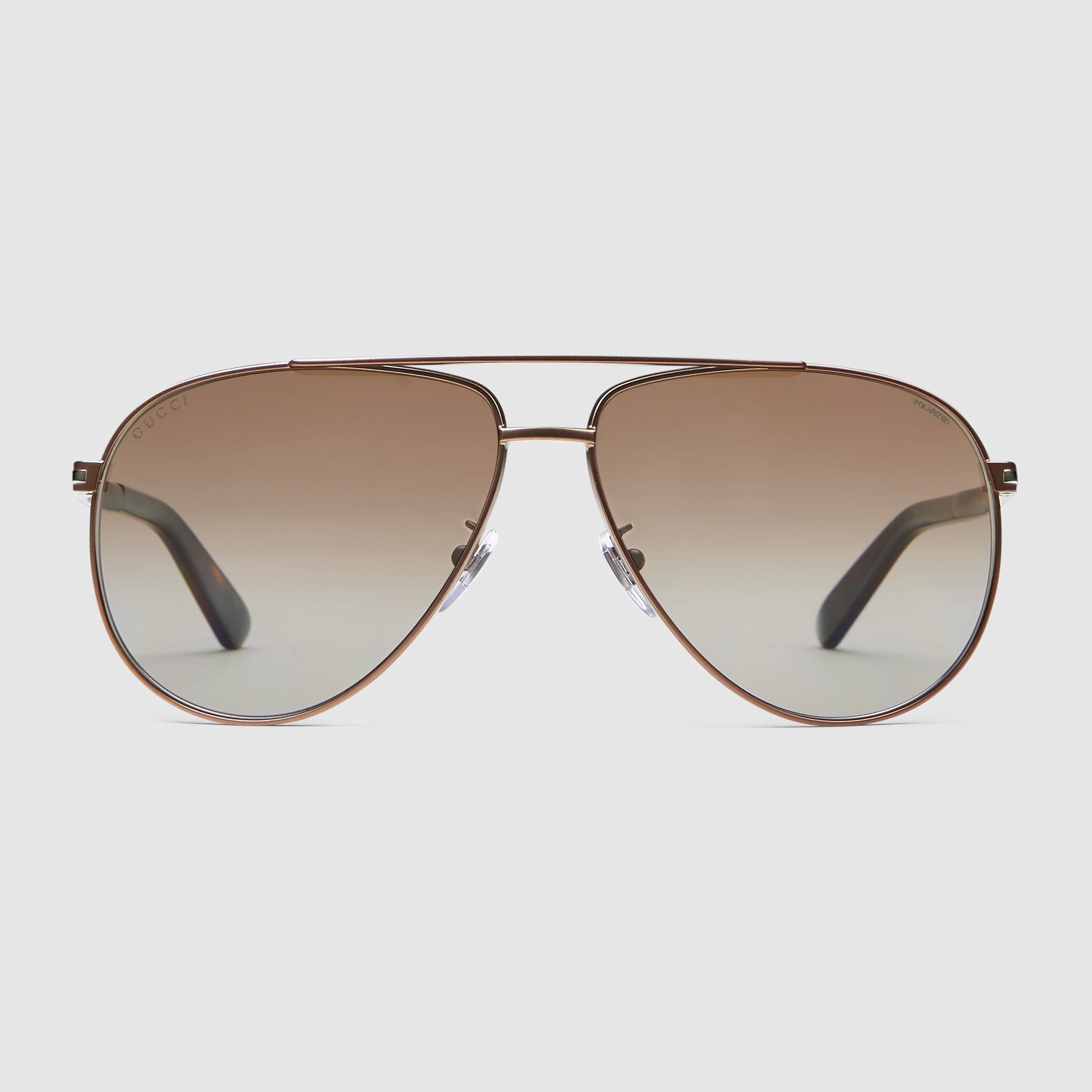 2618cc24067 Lyst - Gucci Aviator Metal Sunglasses With T-bar in Brown for Men