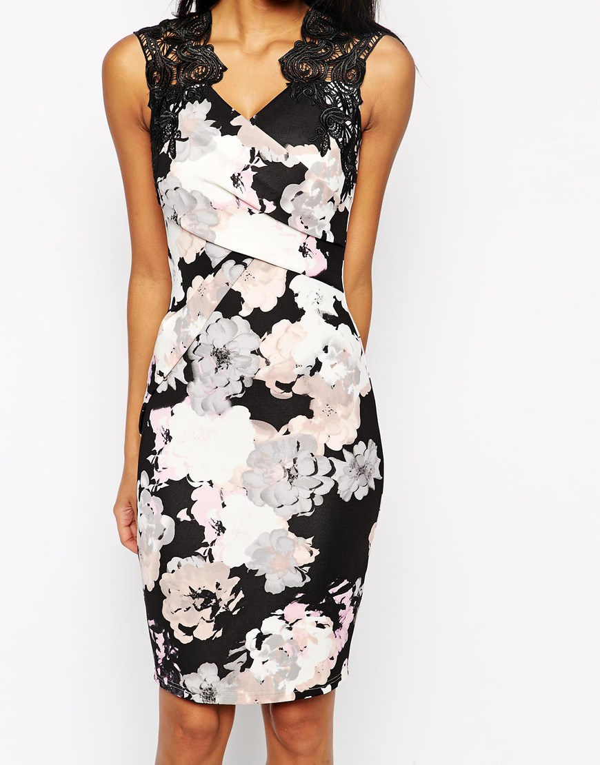 Lipsy Allover Floral Print Lace Top Body Conscious Dress