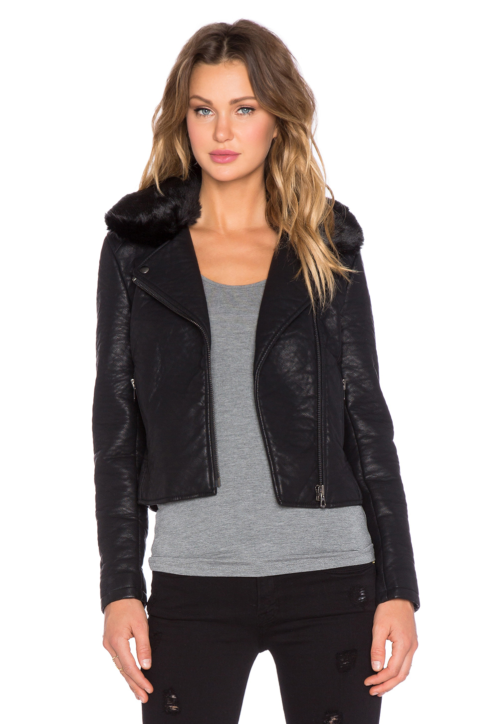 Black orchid Faux Leather Jacket With Faux Fur Collar in Black | Lyst