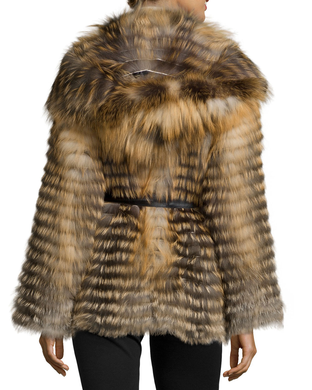 Lyst - Gorski Cross Fox Fur Belted Parka in Natural