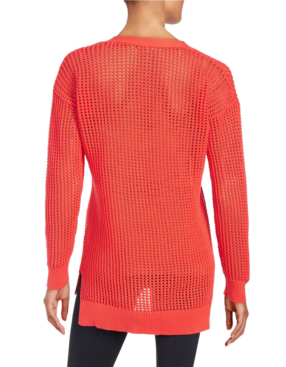 michael michael kors open knit lace up pullover in red lyst. Black Bedroom Furniture Sets. Home Design Ideas