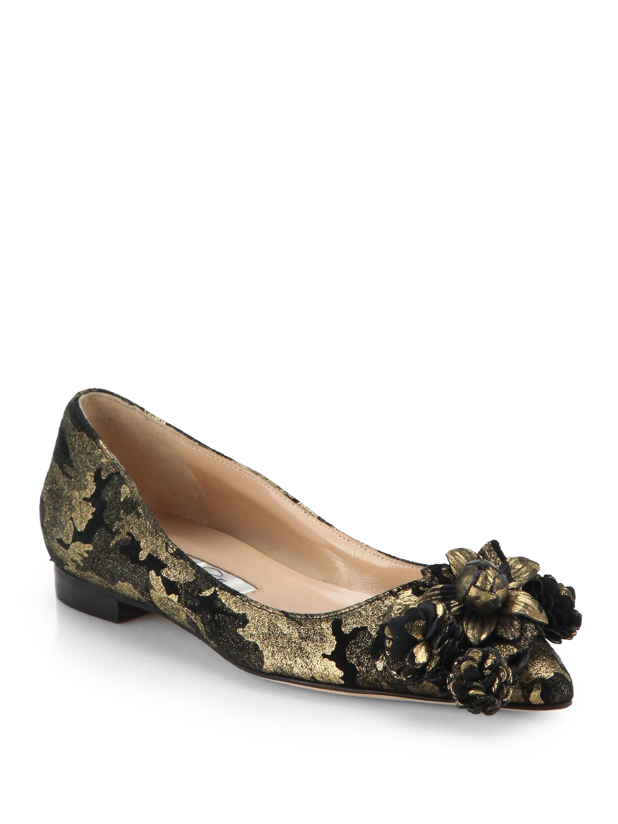 discount fashionable Oscar de la Renta Metallic Bow Mesh Flats sale best wholesale GifgBu97