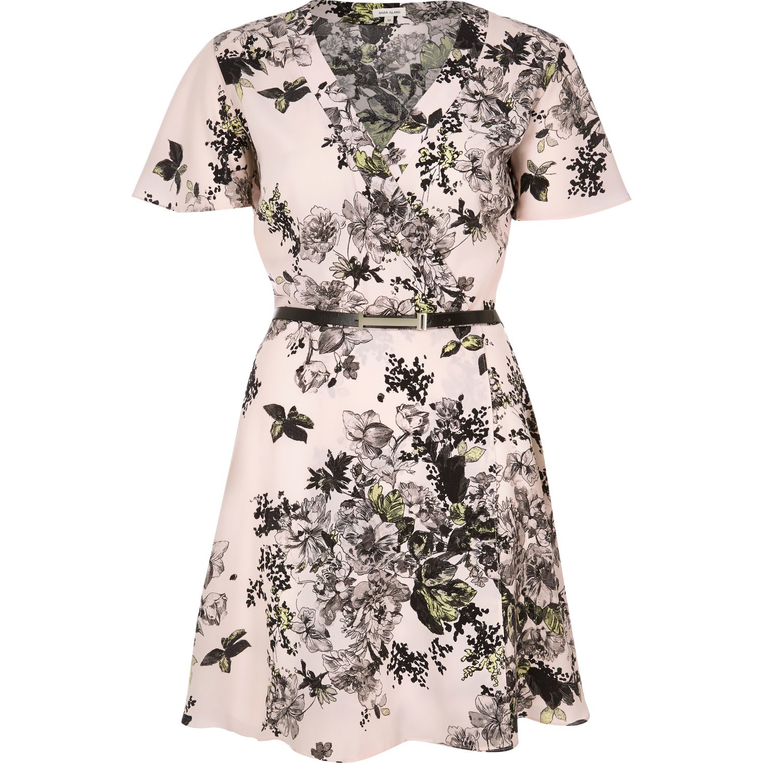 2374f12cea659 Lyst - River Island Pink Floral Print Belted Wrap Dress in Pink