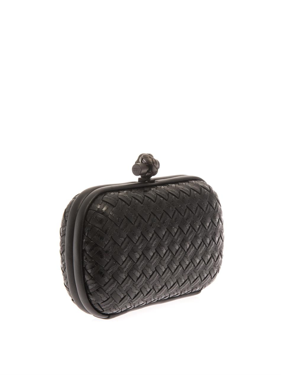 109e62a6acb5 Bottega Veneta Knot Embroidered Leather Clutch in Black - Lyst
