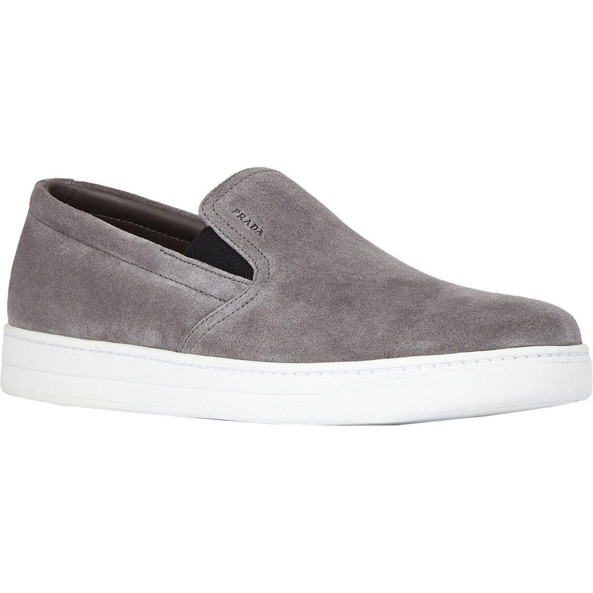eeaec0e2a124 Prada Suede Slip-On Sneakers in Gray for Men - Lyst