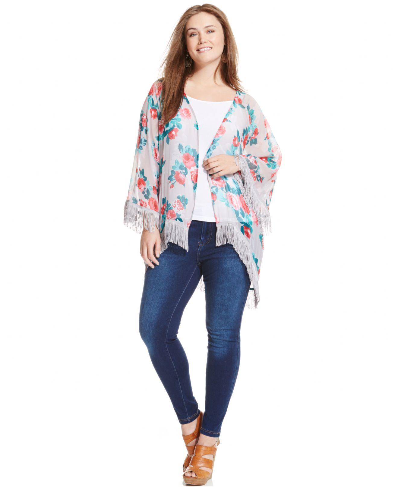 57893915053 Jessica Simpson Plus Size Floral-print Fringed Kimono Cardigan - Lyst