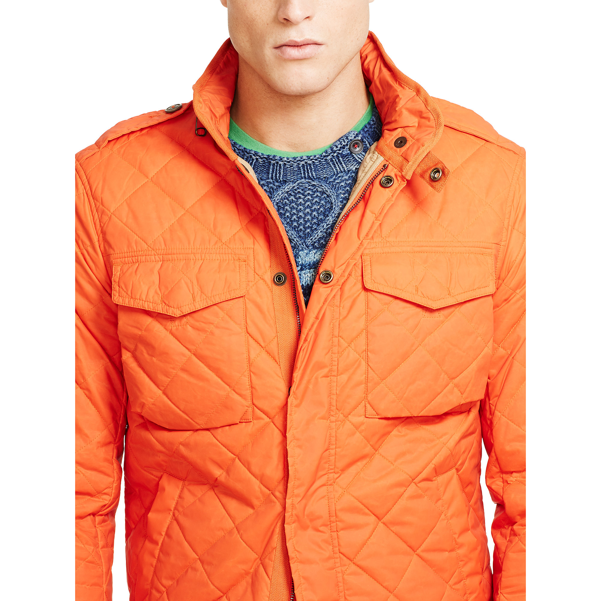 8428a1712f3 Lyst - Polo Ralph Lauren Quilted M65 Shirt Jacket in Orange for Men