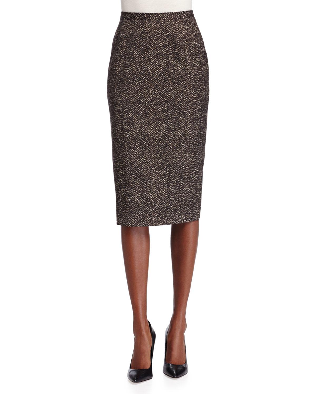 michael kors seamed wool pencil skirt in brown lyst