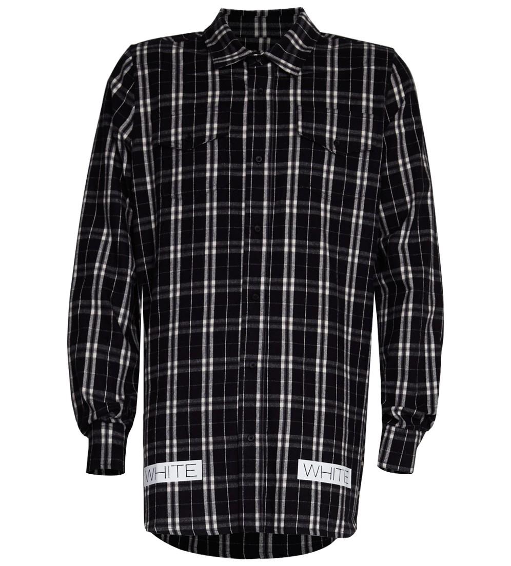 Off White C O Virgil Abloh Black Flannel Shirt In White