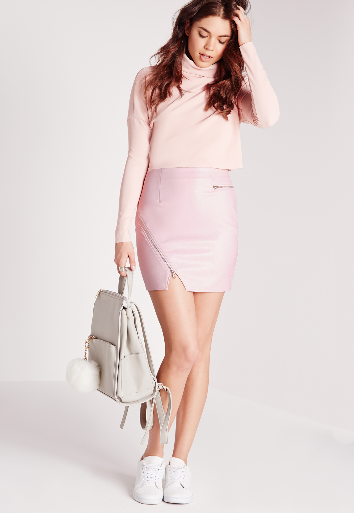 missguided exclusive faux leather biker mini skirt