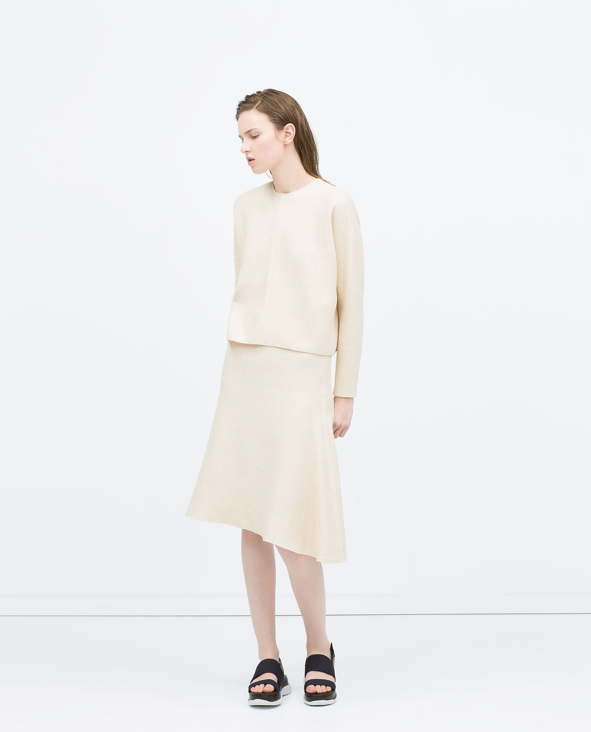 Zara Structured Knit Skirt Structured Knit Skirt in Natural | Lyst