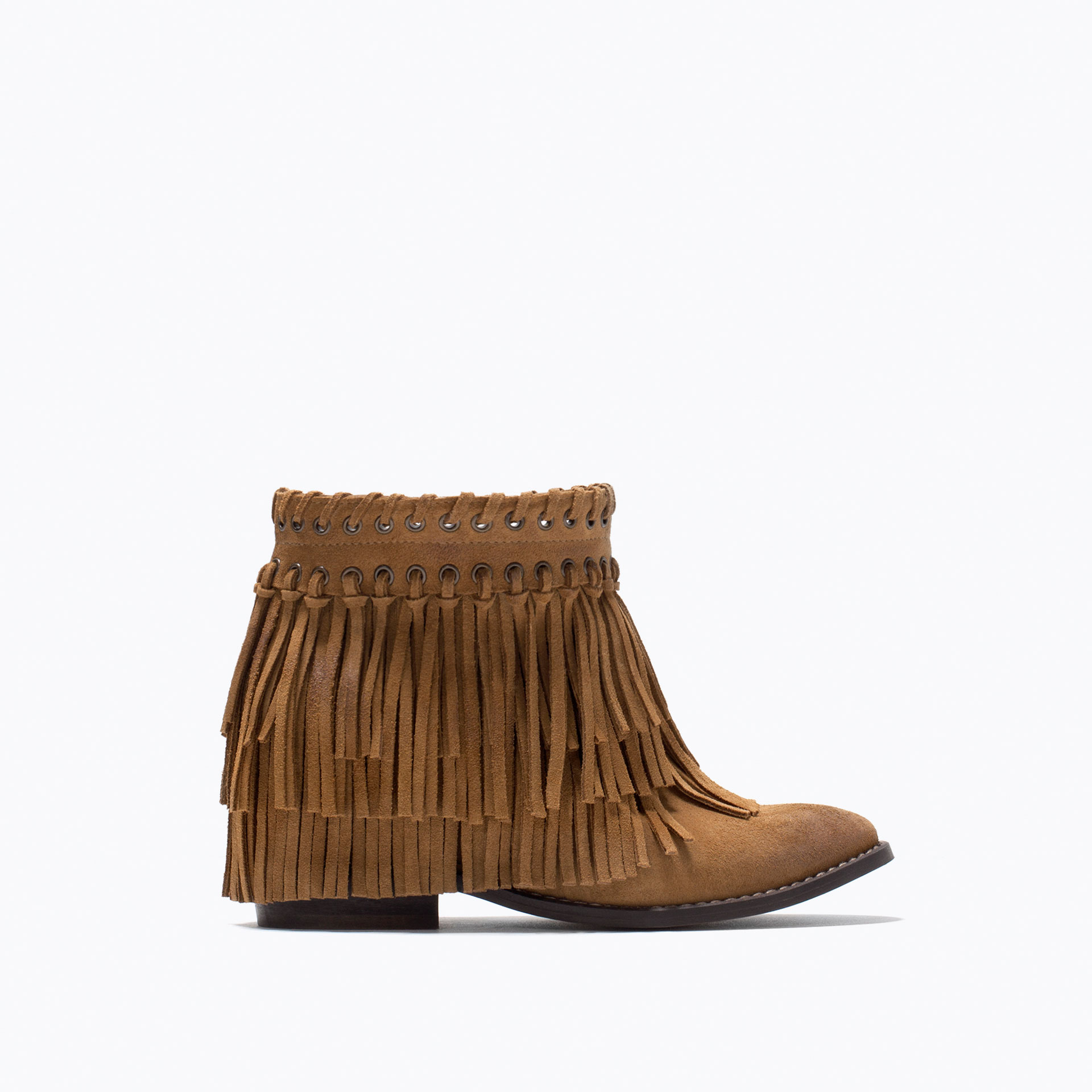 zara suede fringed ankle boots in brown lyst