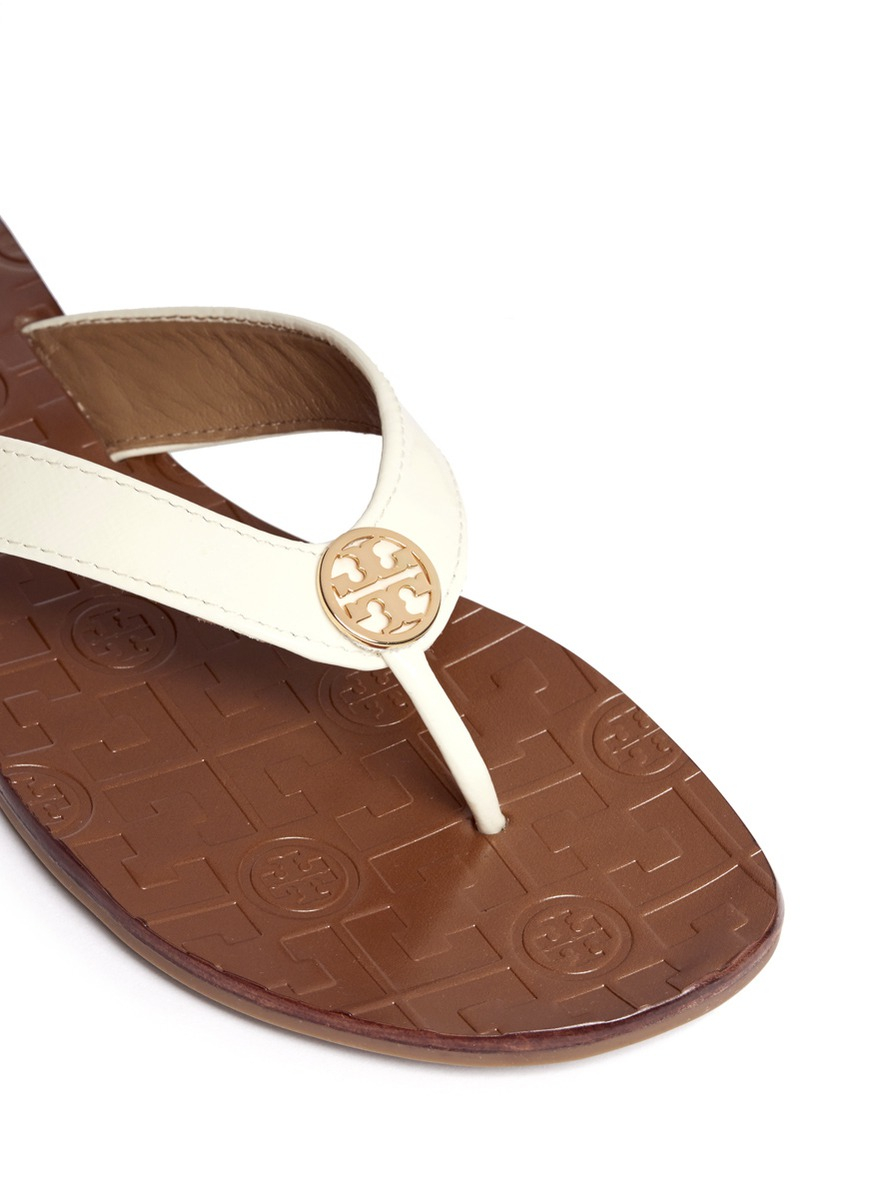 704f6caab Tory Burch Thora 2 Patent Leather Flip-flops in White - Lyst