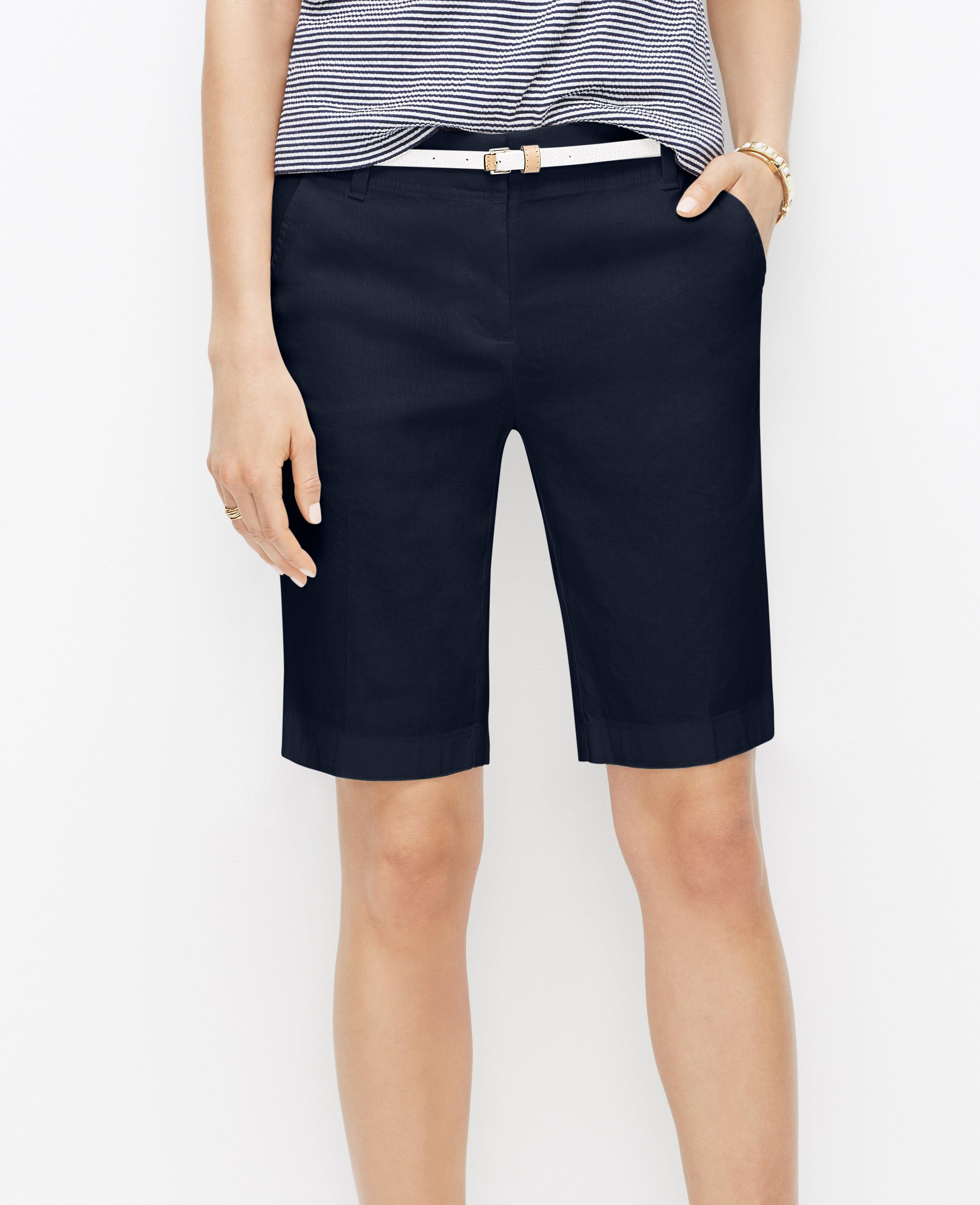 linen blend walking shorts in blue lyst
