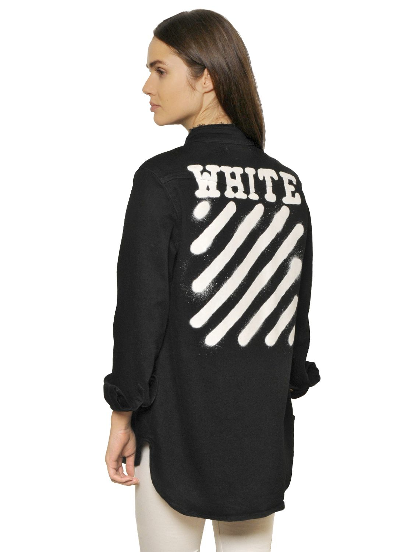 Off White C O Virgil Abloh Spray Paint Vintage Cotton Denim Jacket In Black Lyst
